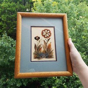 Vintage 1990 Handmade Feather Floral Framed Art